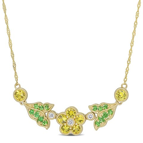 Miadora 10k Yellow Gold Yellow Sapphire and Tsavorite with Diamond Accents Floral Bar Necklace