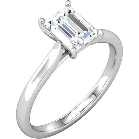 14k White Gold 1 Ct Emerald Cut Solitaire Diamond Engagement Ring Clarity Enhanced