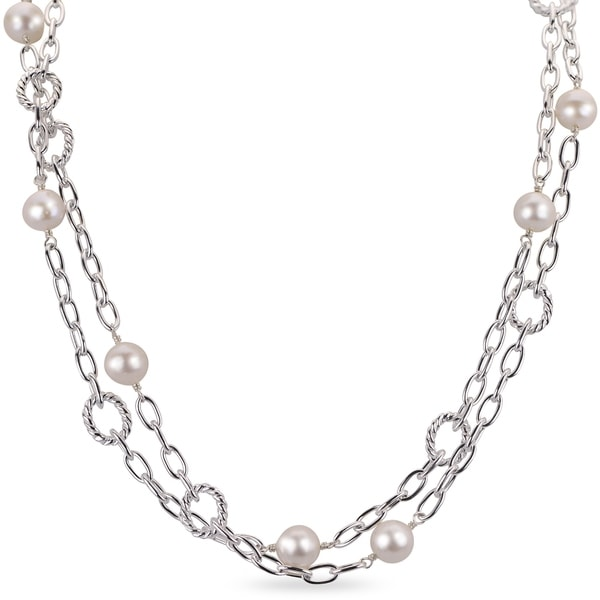 PearLustre by Imperial Sterling Silver Freshwater Pearl Chain Station Necklace