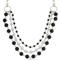 PearLustre by Imperial White Freshwater Pearl and Black Onyx Festoon Necklace