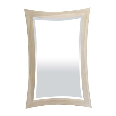 "24"" CoastalVogue Curvature Solid Teak Wall Mirror, 24"" x 35"", in Coastal DriftWood Finish"