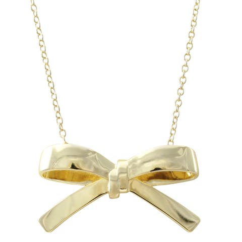 Luxiro Gold Finish Girl's Shiny Bow Necklace