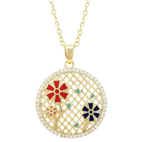 Luxiro Gold Finish White Crystals Enamel Flower Circle Girl's Necklace