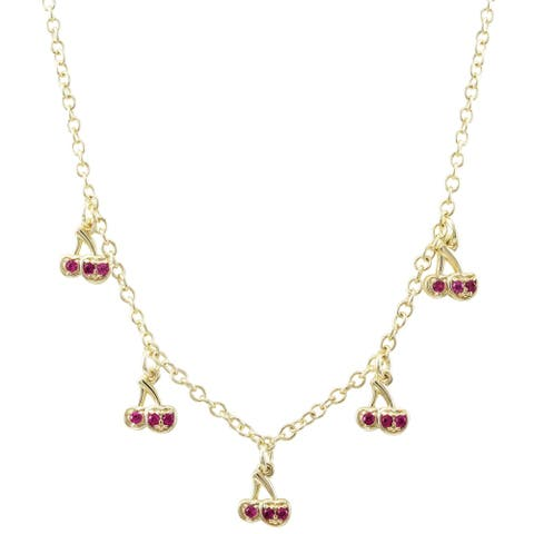 Luxiro Gold Finish Lab-created Ruby Gemstones Girl's Cherry Necklace