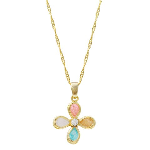 Luxiro Gold Finish Light Multi-color Glass Stones Girl's Flower Necklace