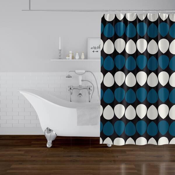 Wilma Dark Blue Shower Curtain By