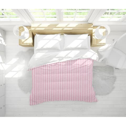 TINY TRIANGLE STRIPE PINK Light Weight Comforter By Becky Bailey