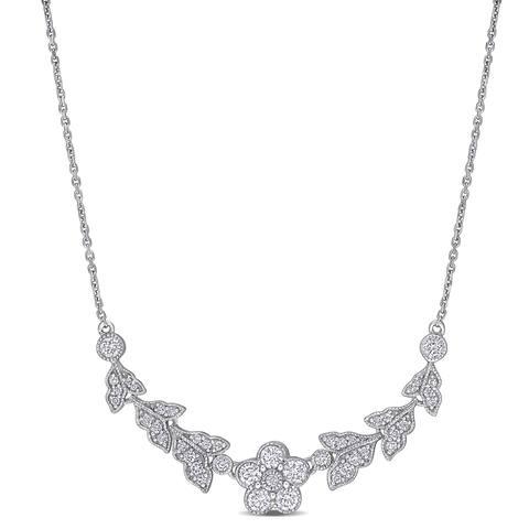Miadora 14k White Gold 4/5ct TDW Diamond Flower Bar Necklace