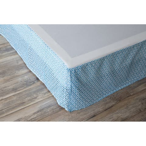 Porch & Den Eleanor Twin-size Blue Eyelet Bed Skirt