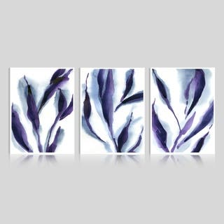 Art Maison Canada, Abstract Purple Leaves Giclee Gallery Wrapped Canvas Wall Art
