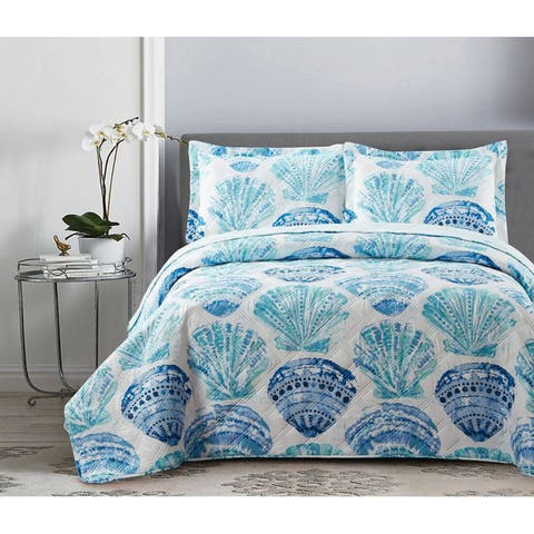 3 Piece Reversible Quilt Set King Water Color Sea Shells