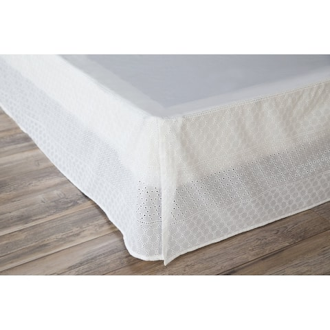 Porch & Den Eleanor Twin-size White Eyelet Bed Skirt
