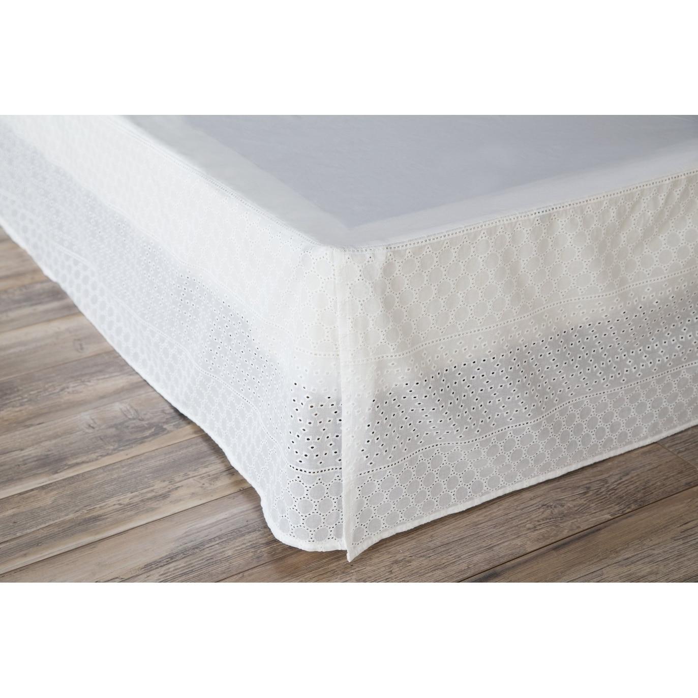 Shop Porch & Den Eleanor King size White Eyelet Bed Skirt