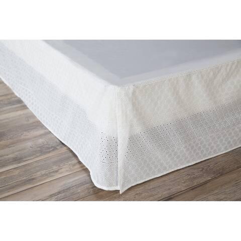 Porch & Den Eleanor King-size White Eyelet Bed Skirt
