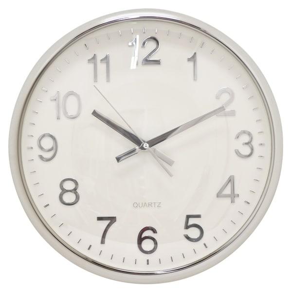 "Three Hands - 29292 - 15 "" Wall Clock - Shiny Silver - 15 x 2 x 15"