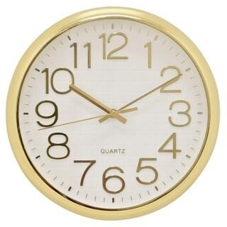 "Three Hands  - 29296 - 12.5 "" Wall Clock - Shiny Gold - 12.5 x 1.25 x 12.5"