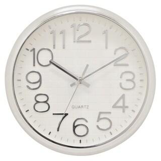 "Three Hands  - 29295 - 12.5 "" Wall Clock - Shiny Silver - 12.5 x 1.25 x 12.5"