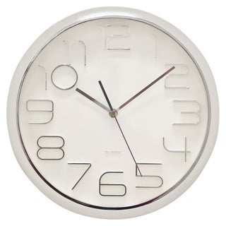 "Three Hands  - 29297 - 13 "" Wall Clock - Shiny Silver - 13 x 1.75 x 13"
