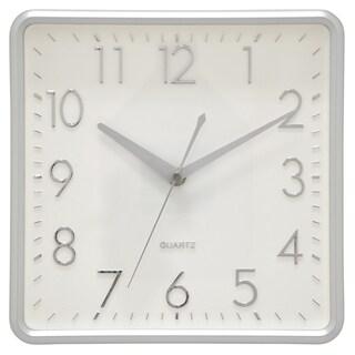 "Three Hands  - 29523 - 10 "" Wall Clock - Matte Silver - 10 x 1.75 x 10"