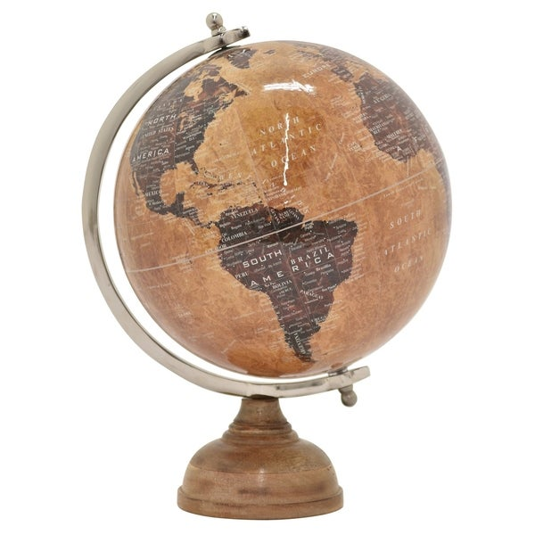 """Three Hands - 86862 - 18.5 """" Globe 12"""" With Wood Base in Brown - 12 x 12 x 18.5"""
