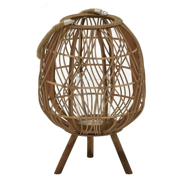 "Three Hands - 11359 - 18 "" Bamboo Lantern in Brown - 12 x 12 x 18"