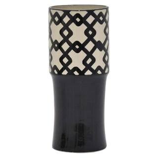 """Three Hands  - 87080 - 13.5 """" Ceramic Vase in Black - 5.75 x 5.75 x 13.5"""
