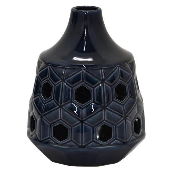 "Three Hands - 76994 - 9 "" Ceramic Vase in Gray - 7 x 7 x 9"