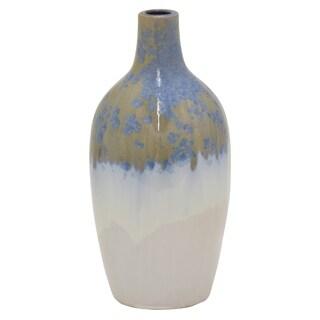"""Three Hands  - 92370 - 17 """" Ceramic Vase in Blue - 8 x 8 x 17"""