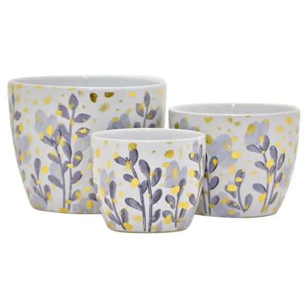 """Three Hands - 22582 - 6.5 """" Ceramic Planter Set Of 3 in Purple - 8.25 x 8.25 x 6.5 6.75x6.75x5.25 5.75x5.75x4.5"""