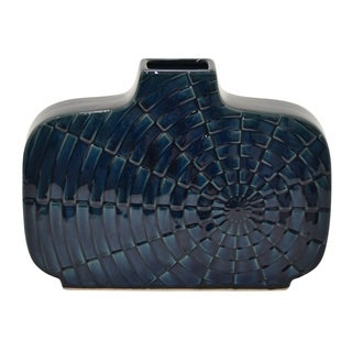"Three Hands  - 76993 - 10.25 "" Ceramic Vase in Blue - 14 x 3.25 x 10.25"