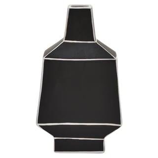 """Three Hands  - 76983 - 14 """" Ceramic Vase in Black - 8 x 3.75 x 14"""
