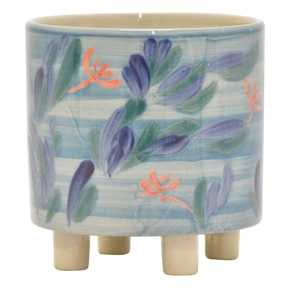 "Three Hands - 22704 - 6.25 "" Ceramic Planter in Blue - 6.25 x 6.25 x 6.25"