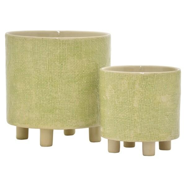 "Three Hands - 22586 - 8.5 "" Ceramic Planter Set Of 2 in Green - 8.25 x 8.25 x 8.5 6.25x6.25x6.25"