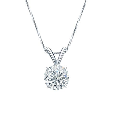 Round 1/2ctw Solitaire Lab Grown Diamond Necklace 14k Gold by Ethical Sparkle