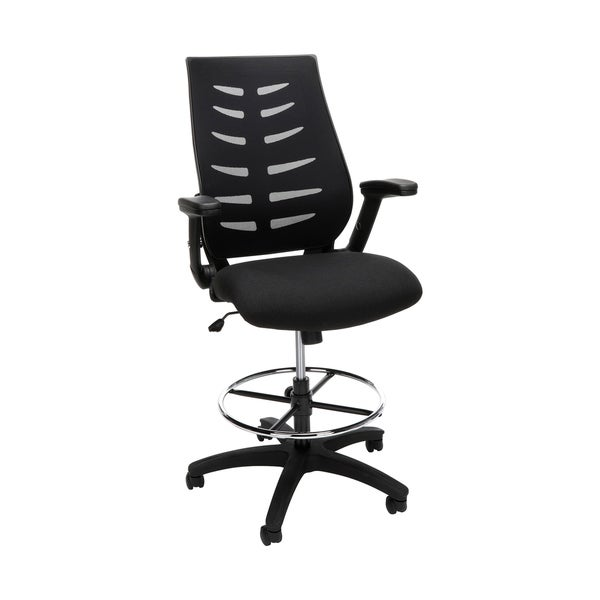 OFM Core Collection Mid Back Mesh Drafting Chair, Drafting Stool, with Lumbar Support, in Black (531-BLK)
