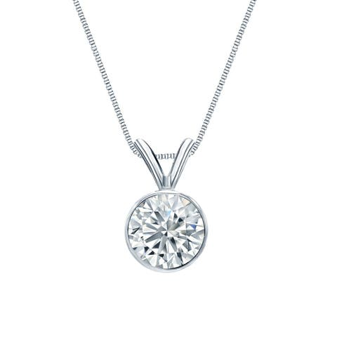 Ethical Sparkle 14k Gold 1/2ct TDW Diamond Lab Grown Solitaire Necklace