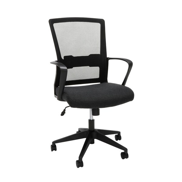 OFM Essentials Collection Modern Mid-Back Mesh Computer Desk Chair with Loop Arms (ESS-3037-BLK)