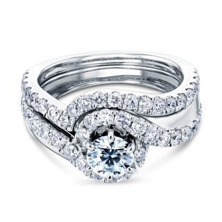 Annello By Kobelli 14k White Gold 6 Prong 1 2 5ct TGW Round Moissanite And Diamond Bypass Curve Bridal Set HI VS GH I