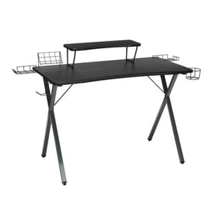 "Essentials Collection 55"" Gaming Computer Desk, 35"" Monitor Shelf, X-Base, in Gray/Black (ESS-1100-GRY-BLK)"