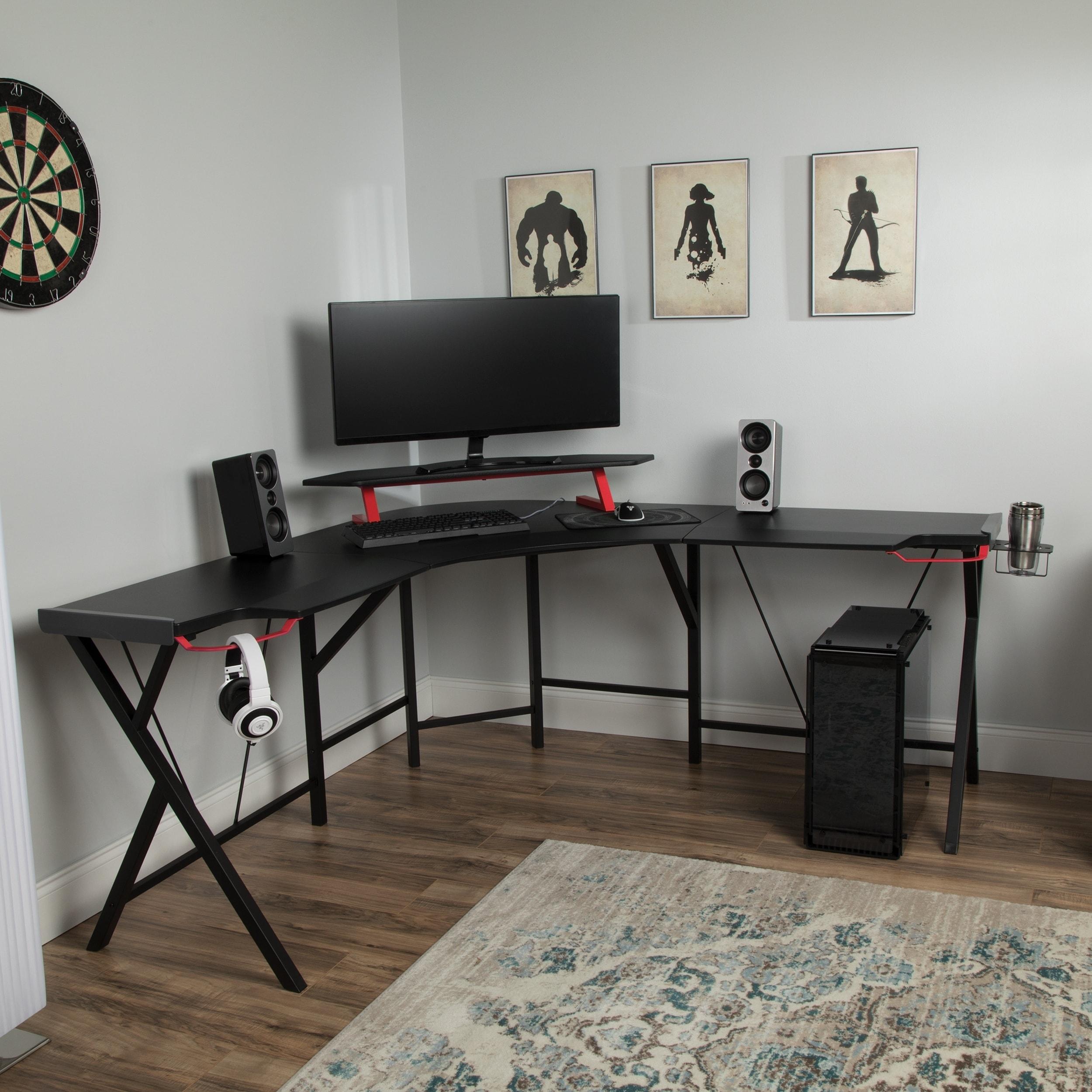 HOMCOM L Shaped Corner Computer Desk Gaming Home Office ...