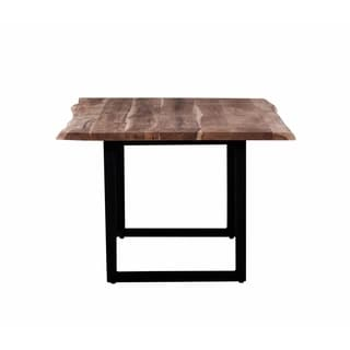 Crossover Acacia Live Edge Dining Table with Trapezoid Base, Natural