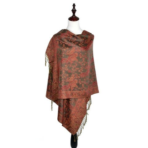 "Women Reversible Paisley Pashmina Shawl Wrap -72"" x 27"""