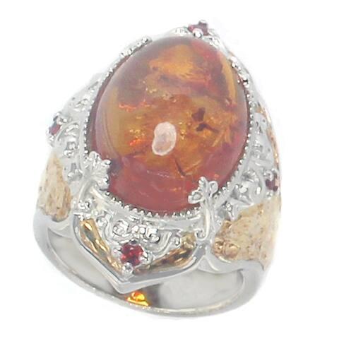 Gems en Vogue Palladium Silver Amber & Orange Sapphire Ring