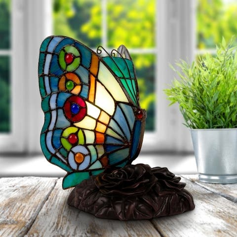 Tiffany Style Butterfly Lamp-Vintage Stained Glass LED Table or Desk Light by Lavish Home