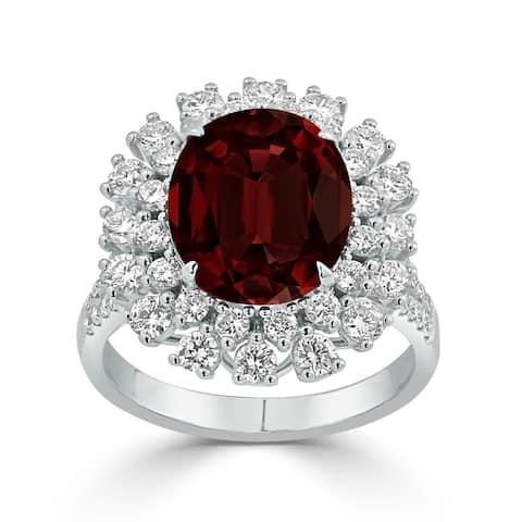 Auriya 4 7/8ct Oval-cut Red Garnet and Halo Diamond Ring 1 3/8ctw 18K Gold