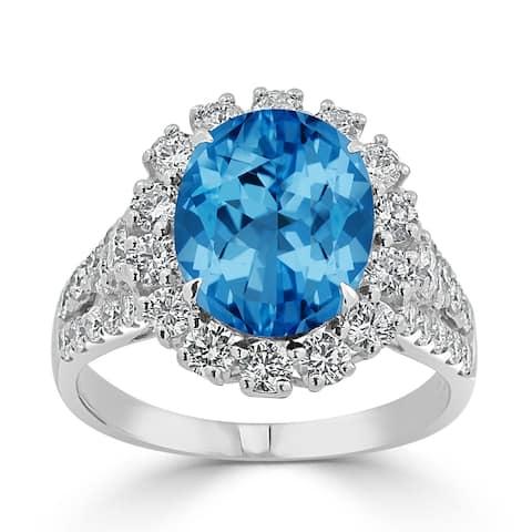 Auriya 4 1/3ct Oval-cut Blue Topaz and Halo Diamond Ring 7/8ctw 18K Gold