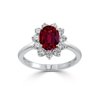 Auriya 1 3 8ct Oval Red Ruby And 5 8ctw Sunburst Halo Diamond Engagement Ring 18K Gold