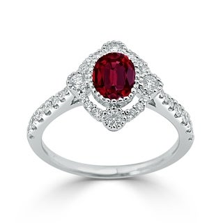 Auriya 1 1 10ct Oval Cut Red Ruby And Halo Diamond Engagement Ring 1 2ctw 18K Gold