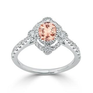 Auriya 5 8ct Oval Cut Morganite And Halo Diamond Engagement Ring 1 2ctw 18K Gold