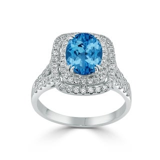 Auriya 2 1 3ct Blue Topaz Oval Cut And Halo Diamond Engagement Ring 5 8ctw 18k Gold